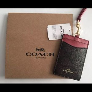 Coach Pink And Brown Lanyard NWT